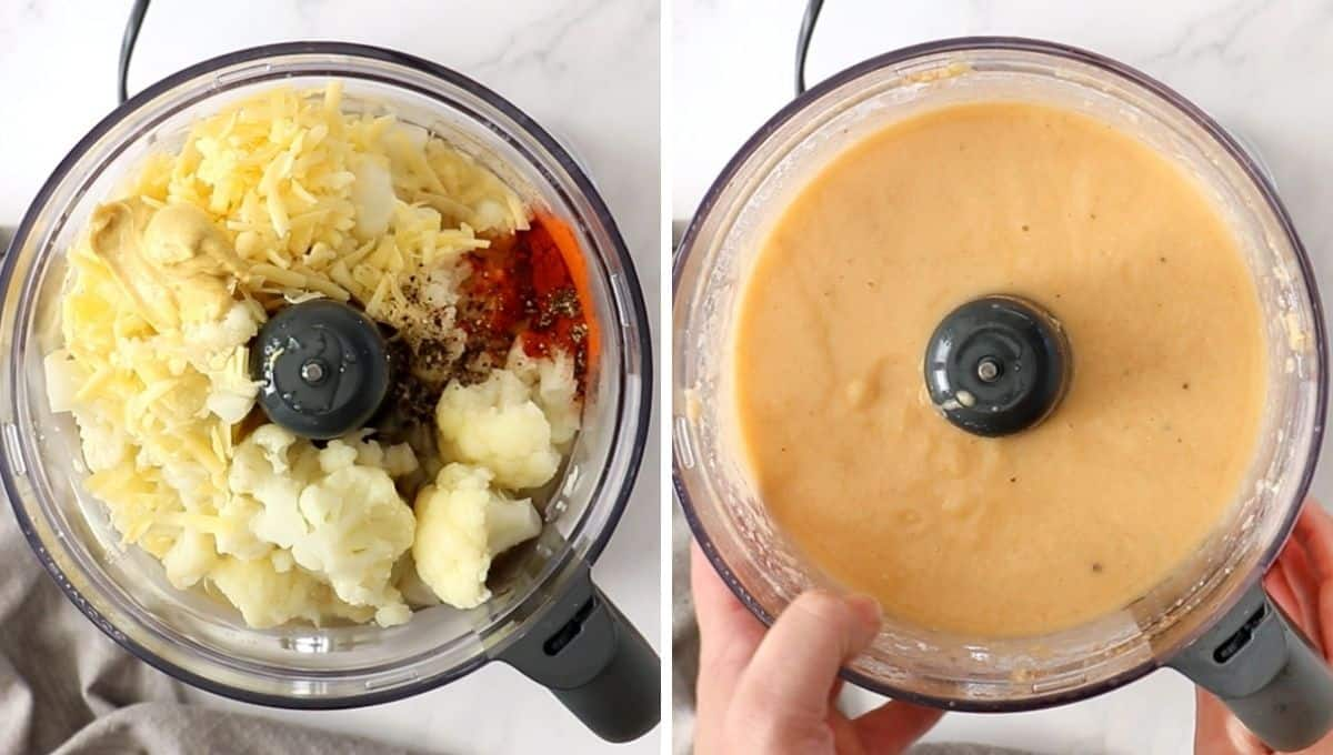 photo collage with cauliflower cheese sauce being made in a food processor