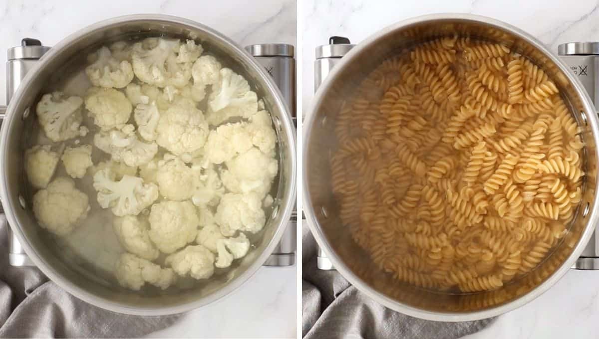 photo collage with cauliflower and pasta being boiled in a pot