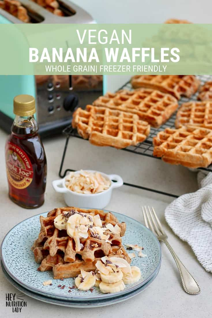 Vegan Banana Waffles! This vegan waffle recipe is easy to make and super healthy. Made with whole wheat flour, brown bananas, and flax seeds, these are perfect to keep frozen and pop into the toaster on a busy morning. #veganwafflerecipe #bananawaffles