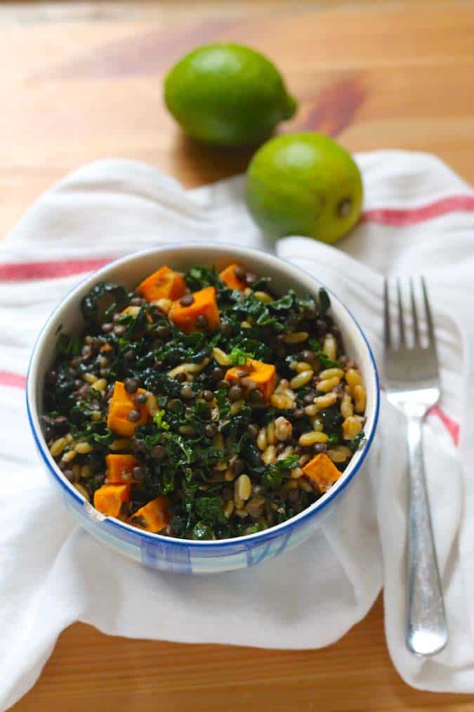 sweet potato, kale, and lentil salad with chipotle lime dressing // www.heynutritionlady.com