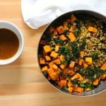 sweet potato, lentil, and kale salad with chipotle lime dressing