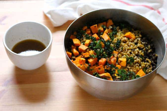 sweet potato, lentil, and kale salad with chipotle lime dressing // www.heynutritionlady.com