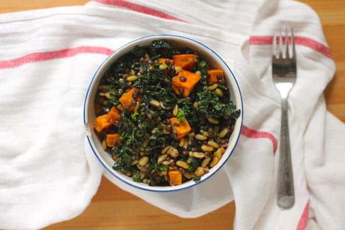 sweet potato, lentil, and kale salad with chipotle lime dressing // themuffinmyth.com