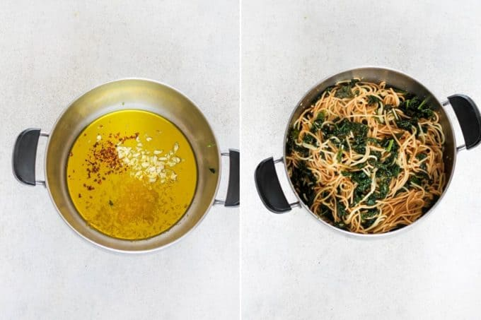 photo collage of olive oil and pasta in a large metal pot
