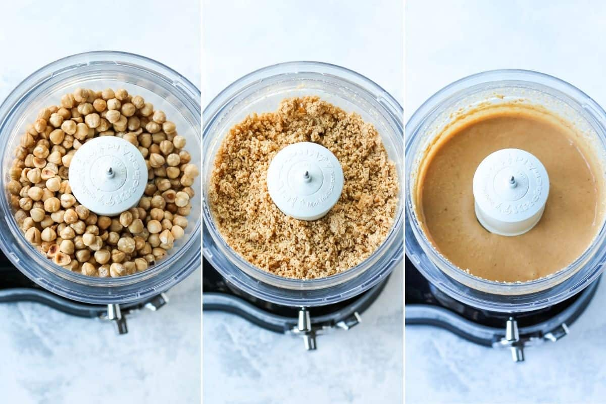 photo collage of hazelnuts being broken down into a food processor to make hazelnut butter
