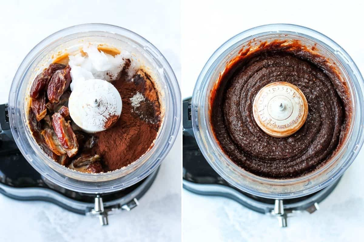 photo collage of dates, coconut oil, and cocoa being mixed into hazelnut butter in a food processor