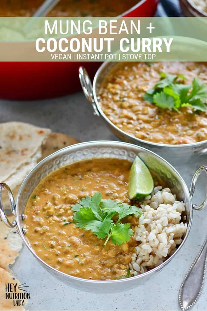 Mung Bean and Coconut Curry! This easy vegan curry is packed with Indian flavours, coconut milk, cilantro, and lime. It's incredibly easy and can be made in the Instant Pot or on the stove top. Grab the recipe and let's get started! #curry #vegan #beans #mungbeans #coconut #cilantro #indian #instantpot #recipe #vegetarian