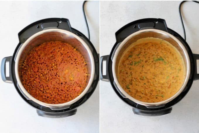 mung bean curry being made in the instant pot
