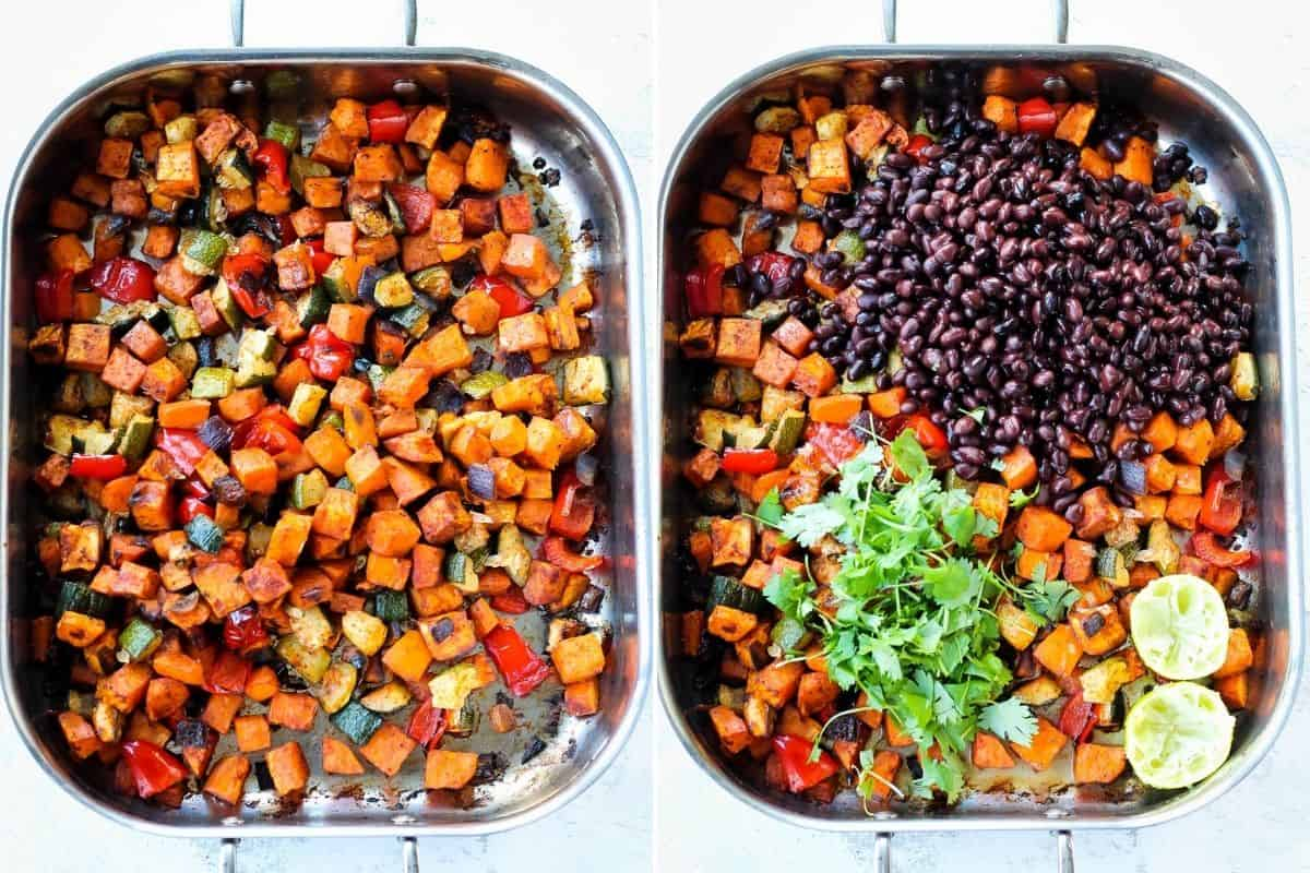 photo collage with roasted sweet potatoes in a pan with black beans, cilantro, and lime added in the other side