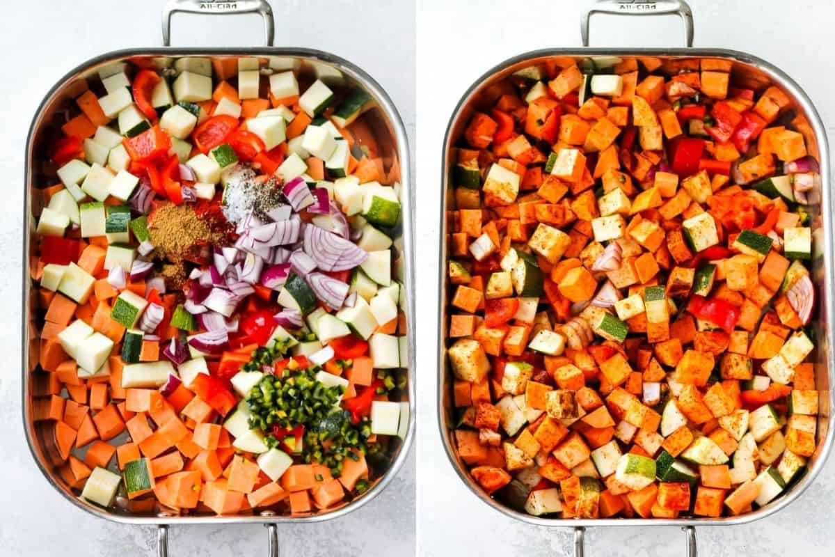 photo collage with sweet potato, zucchini, peppers, onions, and spices in a roasting pan