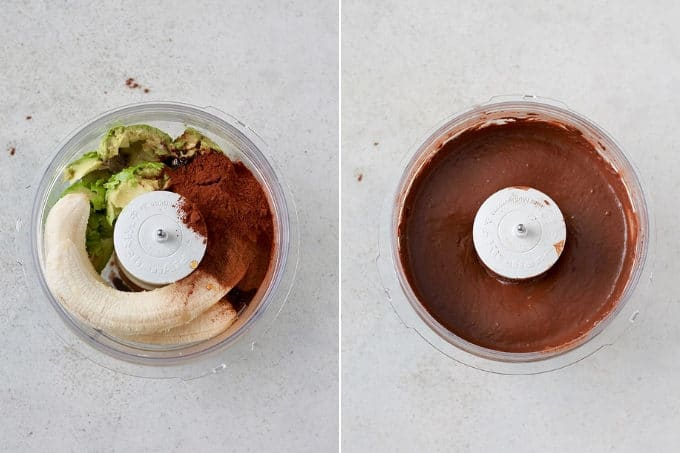 collage photo of vegan chocolate mousse being made in a food processor