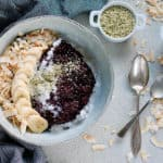 Indonesian black rice pudding in a blue bowl