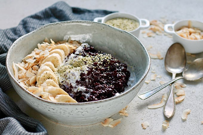 Indonesian black rice pudding drizzled with coconut milk