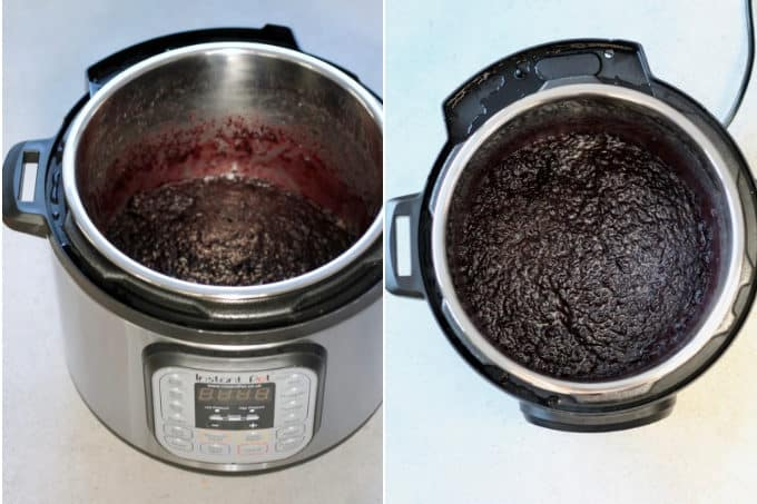 process shots of black rice pudding being made in the instant pot