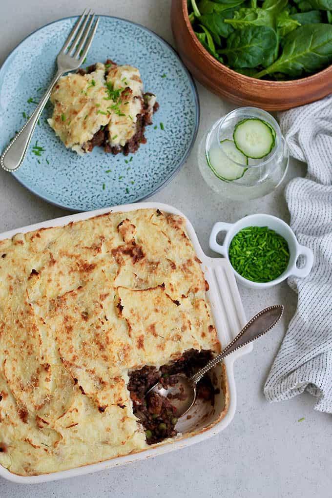 lentil shepherd's pie in a white casserole dish