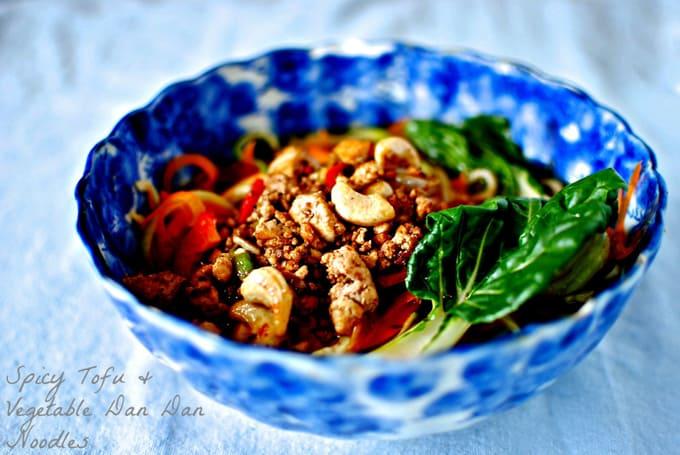 spicy tofu dan dan noodles from kelliesfoodtoglow.com