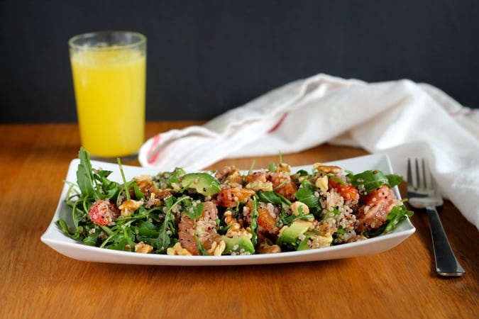 winter citrus breakfast salad with quinoa and toasted walnuts