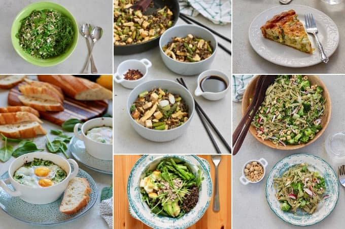 collage photo of spring vegetarian recipes