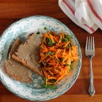 toast for dinner – tahini toast with simple carrot salad