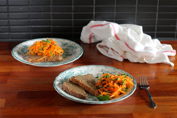 Toast For Dinner! Tahini toast with a simple carrot salad // www.heynutritionlady.com