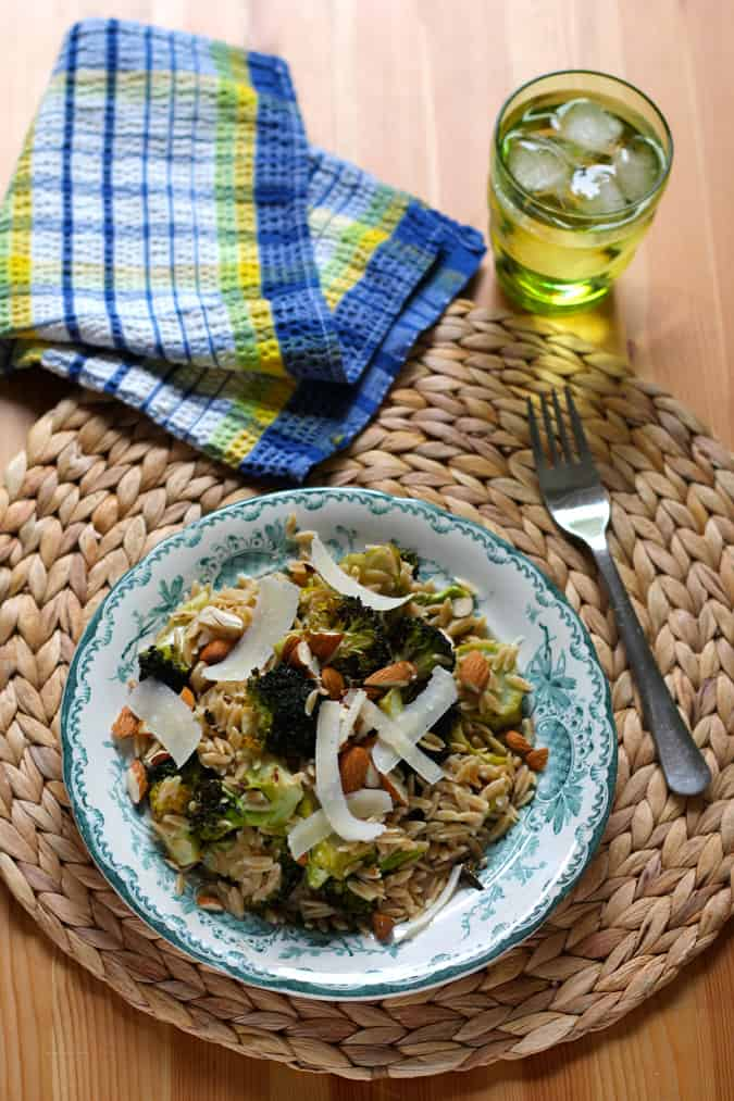 Caesar roasted broccoli with whole wheat orzo. A quick, easy, and healthy dinner! // themuffinmyth.com