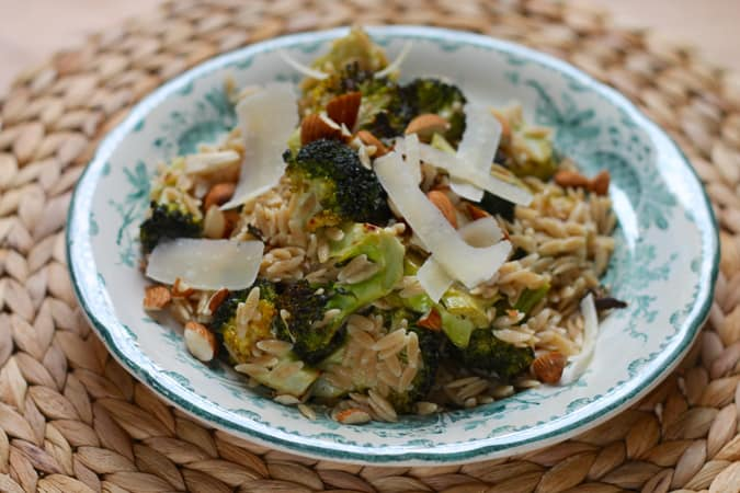 Caesar roasted broccoli with whole wheat orzo. A quick, easy, and healthy dinner! // www.heynutritionlady.com