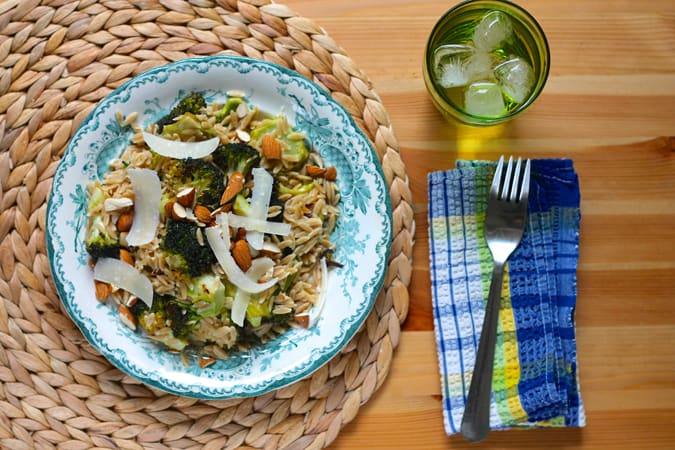 caesar roasted broccoli with orzo