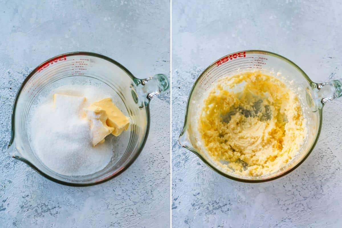 photo collage with sugar being creamed with butter in a large pyrex bowl