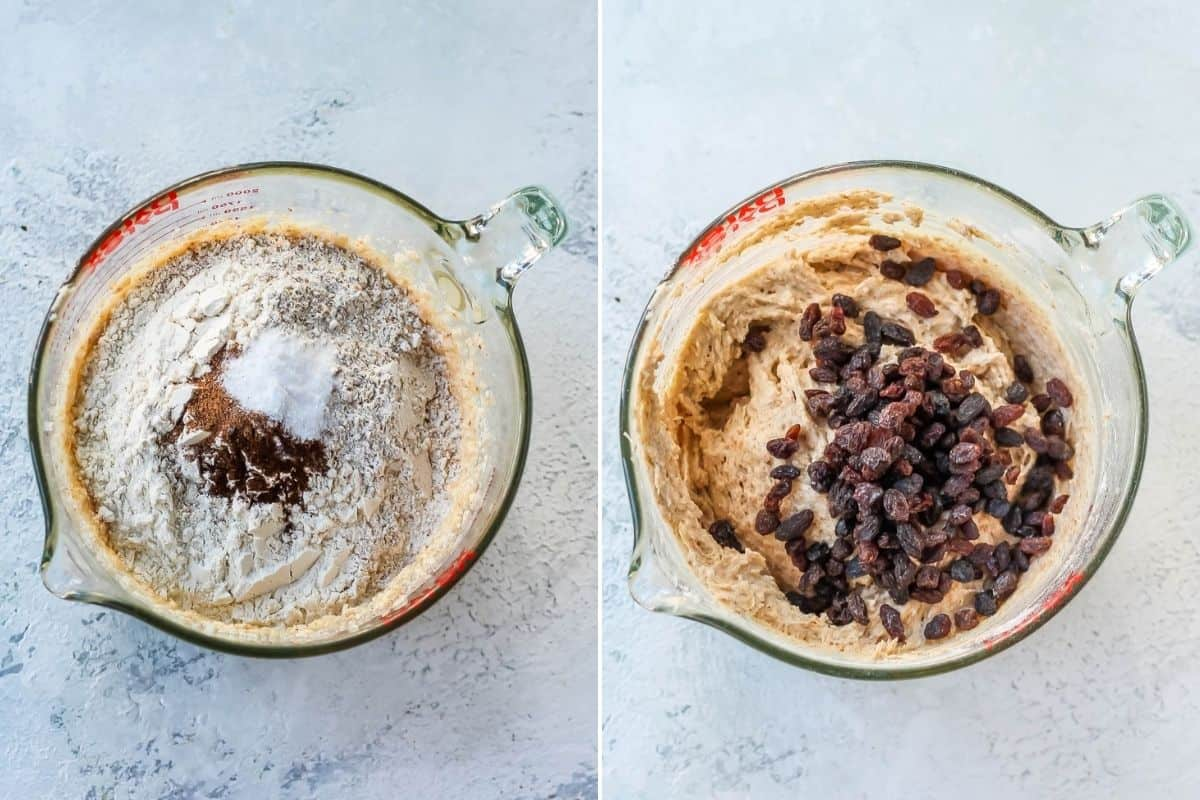 photo collage with flour and raisins being stirred into healthy apple cake batter