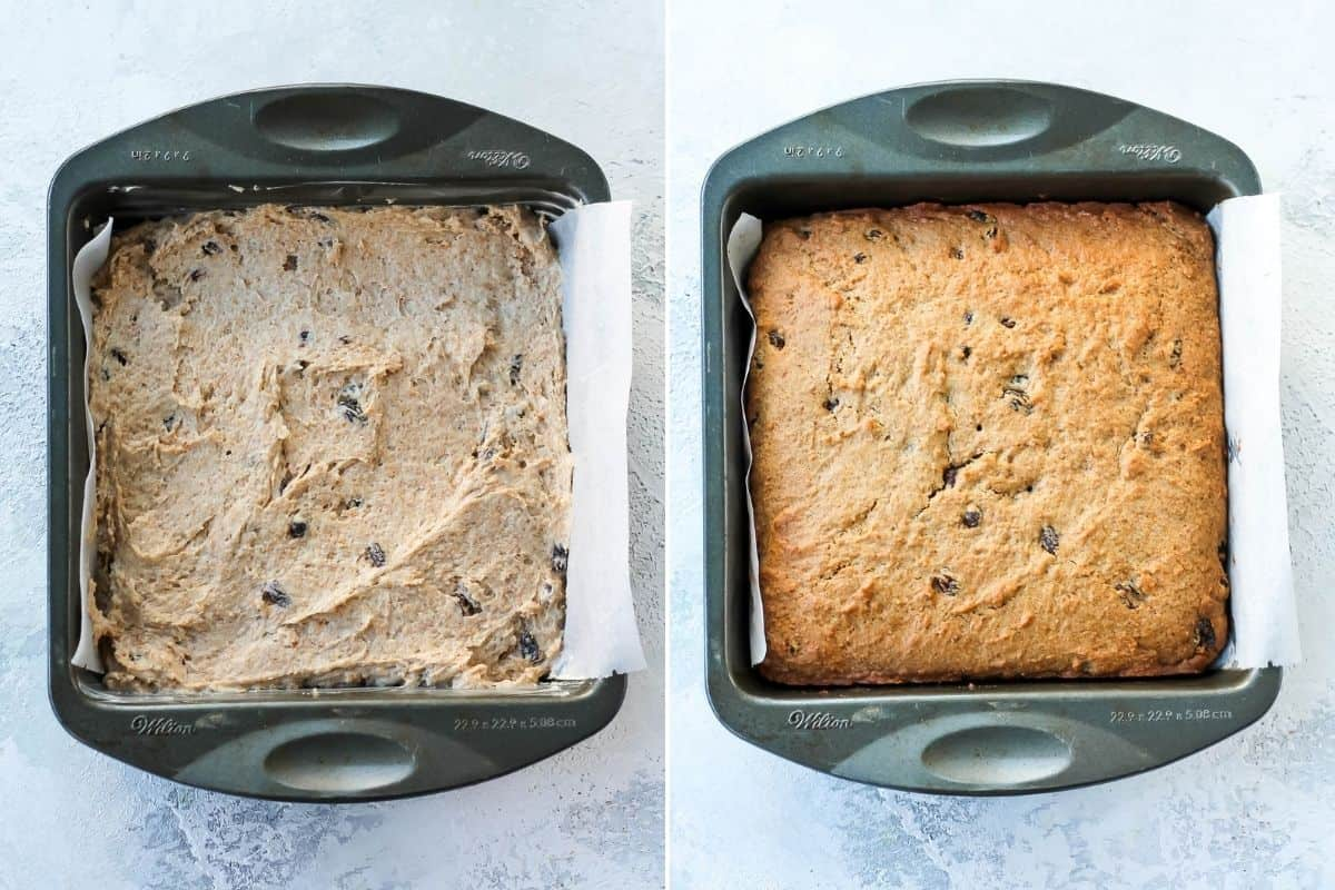 photo collage with an unbaked and baked healthy apple cake