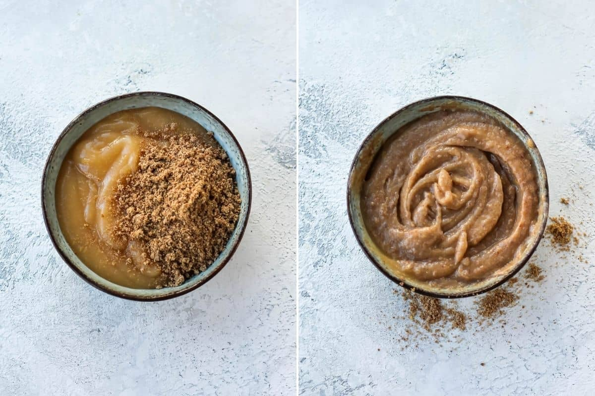 photo collage with ground flax being mixed into applesauce in a blue bowl