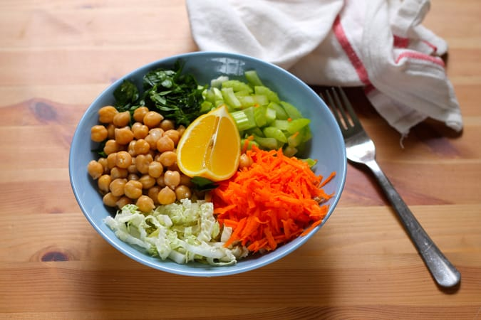 a light lunch bowl - chickpea and napa cabbage slaw // themuffinmyth.com