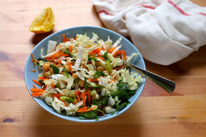 a light lunch bowl - chickpea and napa cabbage slaw // www.heynutritionlady.com
