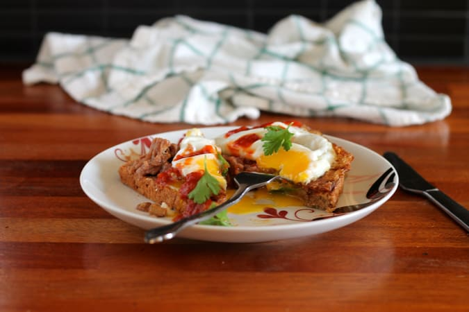 Toast for dinner! refried beans, crispy fried egg, salsa, and cilantro. Perfect for Cinco de Mayo! // themuffinmyth.com