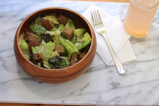 Cheater Caesar! A quick and easy fish-free Caesar with wholegrain olive oil croutons // themuffinmyth.com