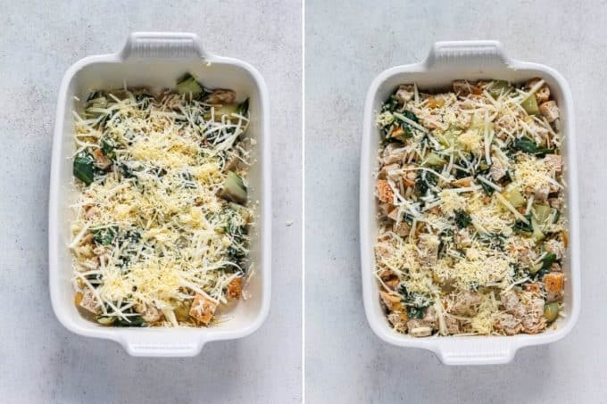 photo collage of a vegetarian breakfast casserole being made