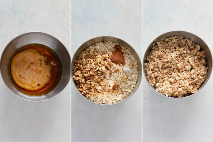 photo collage of apple granola being mixed in a metal bowl