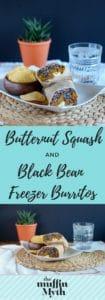 Roasted Butternut Squash and Black Bean Freezer Burritos // www.heynutritionlady.com
