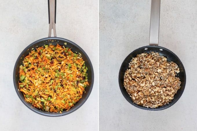 photo collage of cooked veggies in a frying pan and nuts toasting in a dry pan