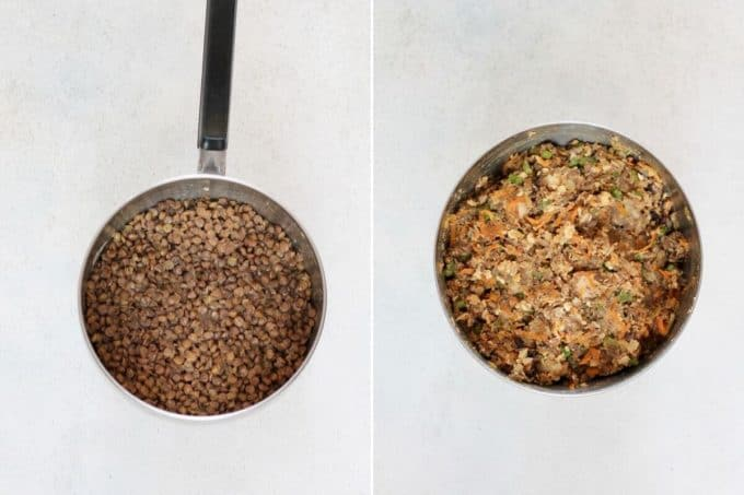 photo collage of cooked lentils in a pot and vegan lentil loaf ingredients mixed in a bowl
