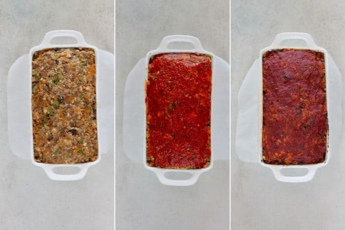 photo collage of cooked and uncooked vegan lentil loaf with tomato sauce brushed on top