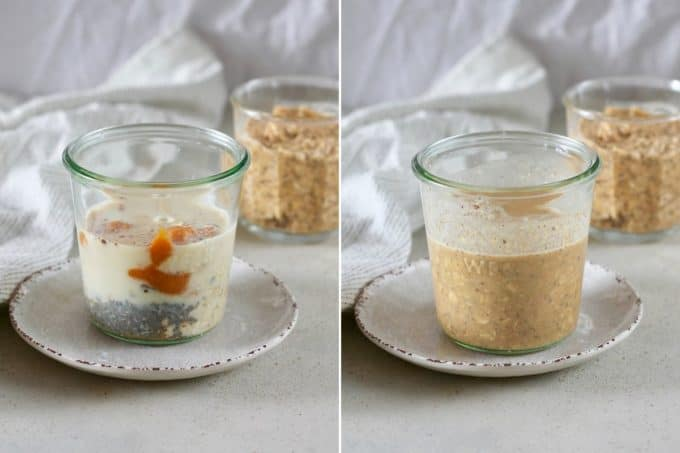 photo collage of pumpkin overnight oats being made in a jar