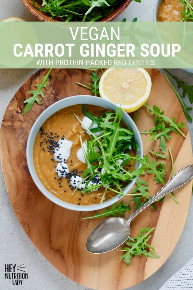 This Vegan Carrot Ginger Soup is packed with protein thanks to the addition of red lentils! It's a healthy recipe with warming spices that's easy to make in your Instant Pot, Crockpot, or on the stove top (instructions are included for all three!). #vegansoup #instantpotrecipe