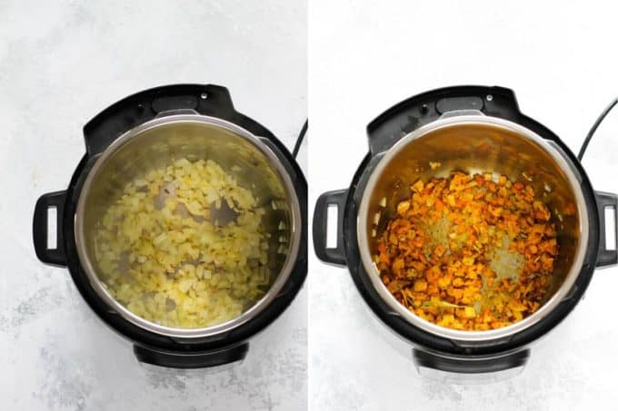 photo collage of onions and spices in an instant pot to make instant pot dal