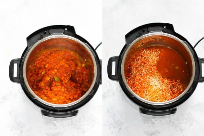 photo collage of slow cooker red lentil curry being made in an instant pot