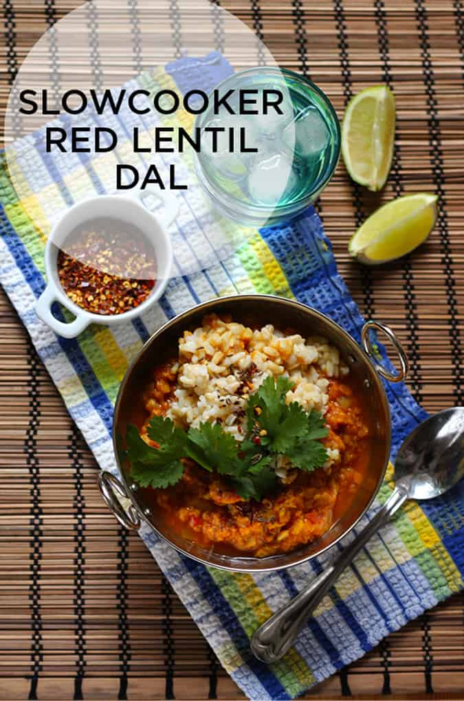 This easy vegan red lentil dal is the perfect make ahead meal. Just pop the ingredients into your slow cooker in the morning, and when you get home dinner is done! // www.heynutritionlady.com