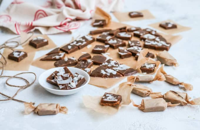 salted coconut caramels with some twine and brown parchment paper