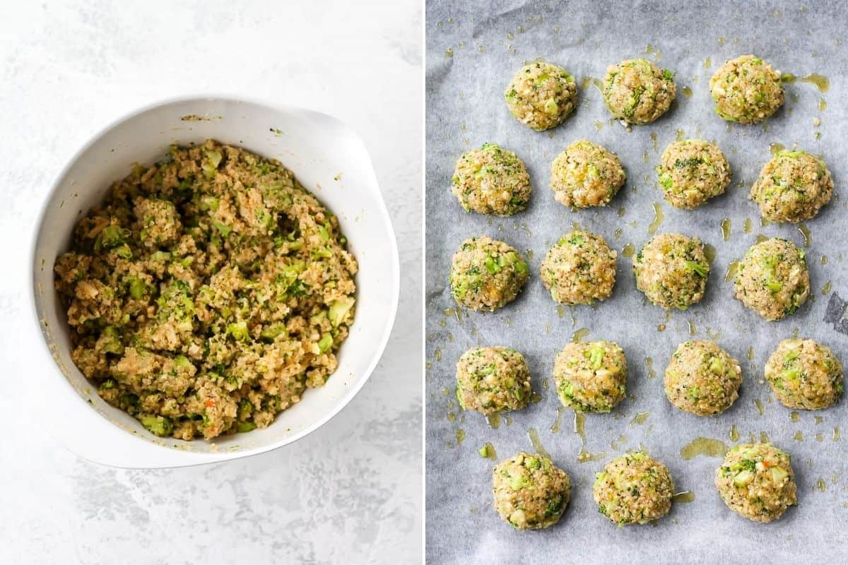 photo collage with a white bowl with the mixture for broccoli nuggets on the left, and un-baked broccoli nuggets on a parchment lined tray on the right.