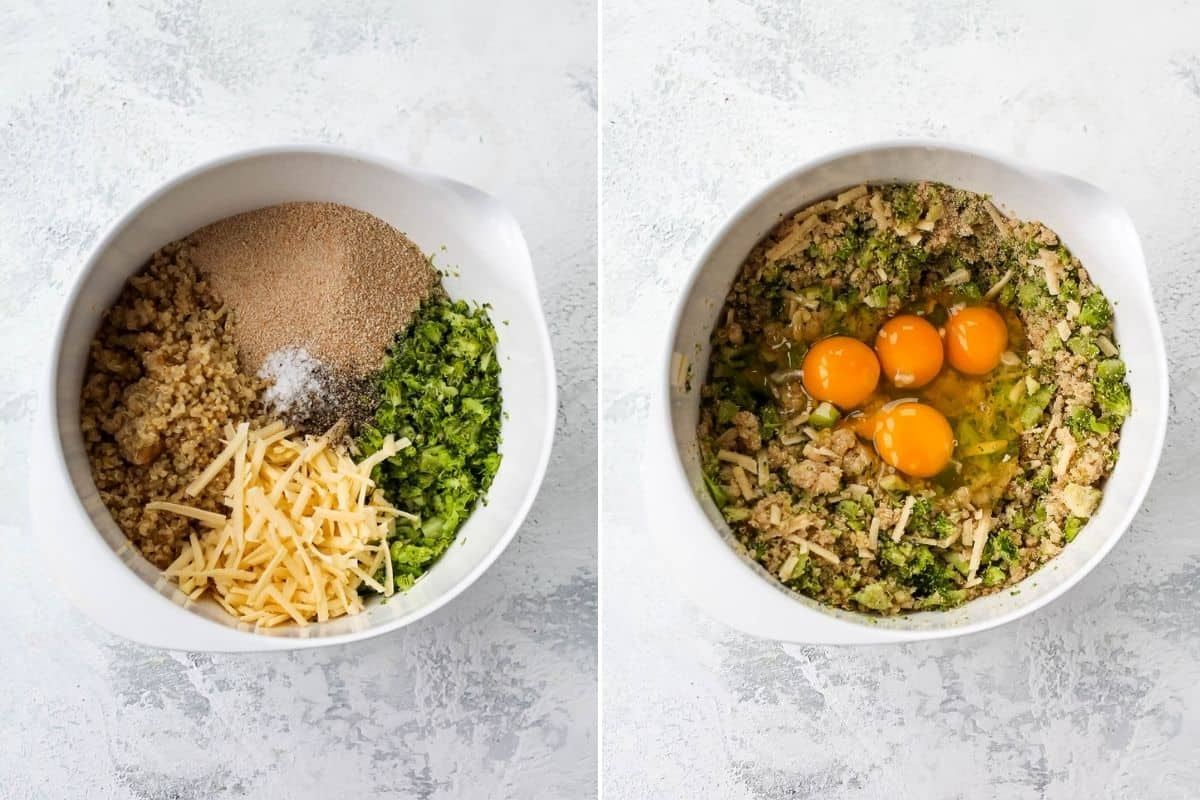 photo collage with quinoa, chopped broccoli, shredded cheese, and breadcrumbs in a white bowl. In the photo to the right four eggs have been added to the bowl.