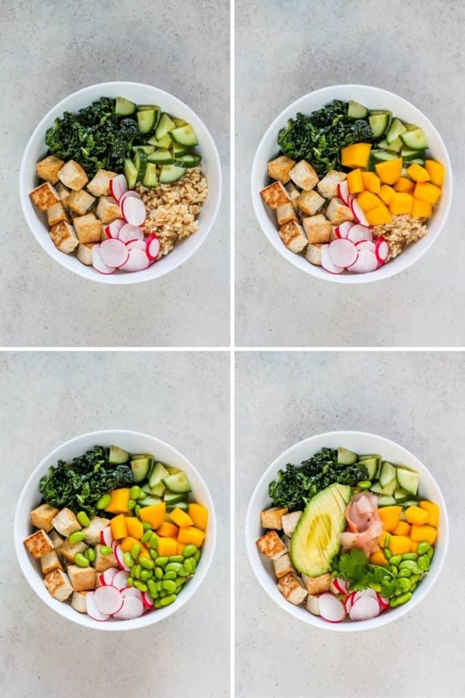 photo collage for making vegan poke bowls